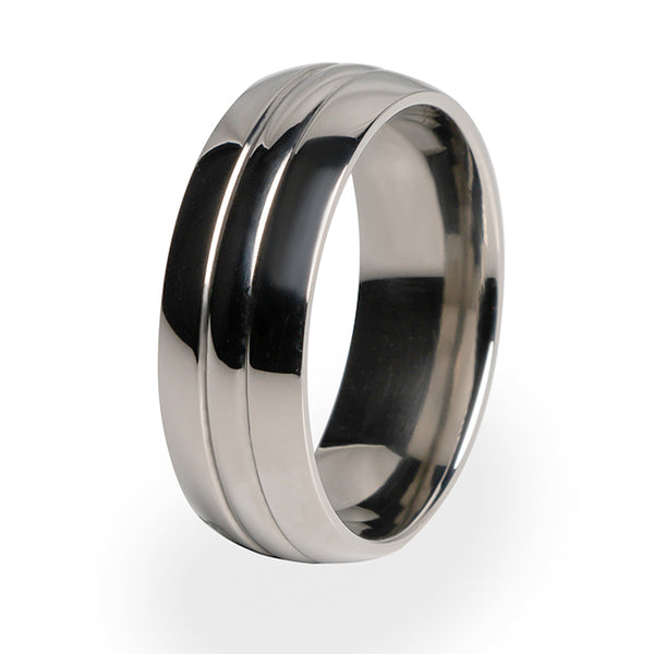 A traditional design on a beautiful Titanium ring.