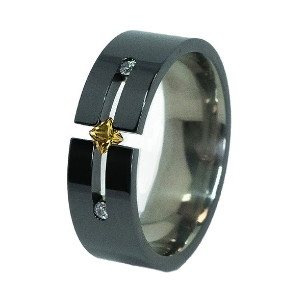 Pioneer Past-Present-Future Black Titanium Ring
