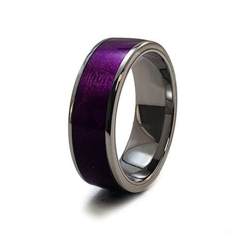 Purple Curly Maple Burl Titanium Ring with Wood Inlay