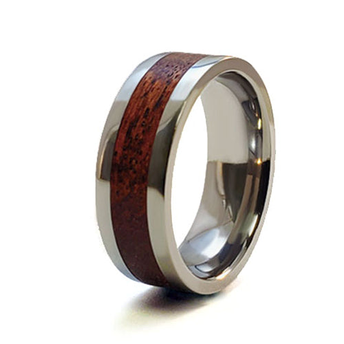 Red Amboyna Titanium Ring with Wood Inlay