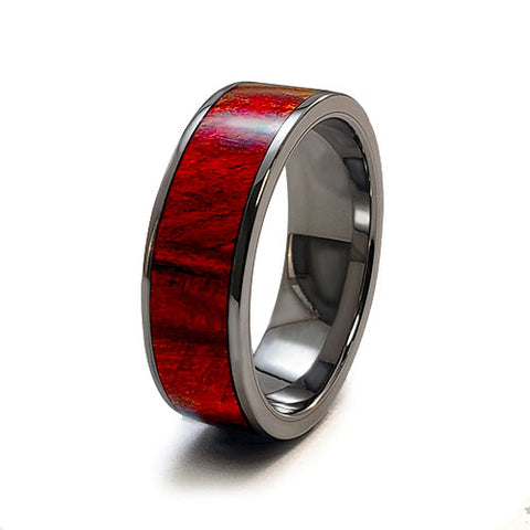 Red Maple Burl Titanium Ring with Wood Inlay