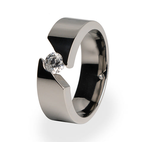 Samsara | Womens Solitaire Titanium Ring