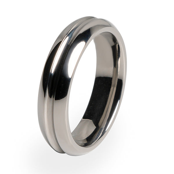 Synapse Titanium ring. Polished and elegant.  A perfect fit includes a comfort fit in all our rings.