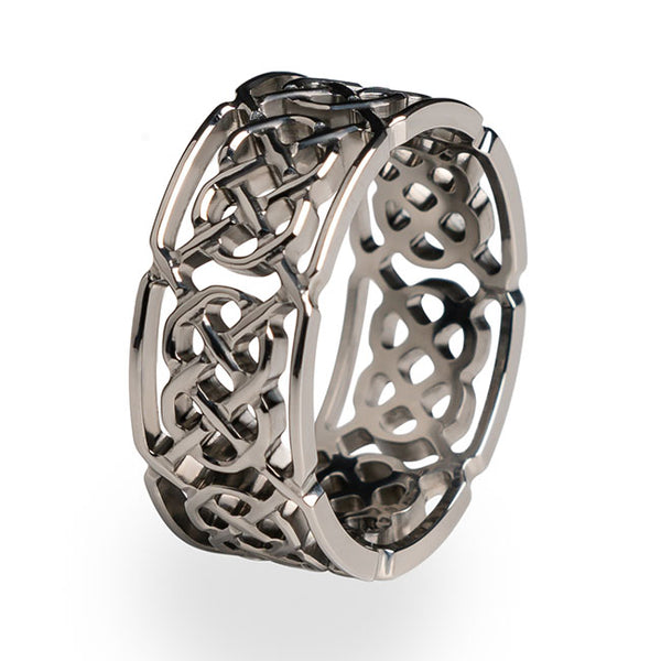 The Merlin Titanium ring. A full depth cut through Celtic design.