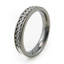 Womens eternity Sterling Silver and Titanium ring with 21 beautiful diamonds