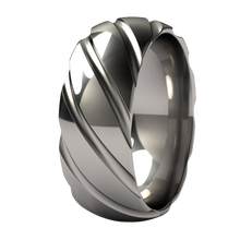 Classic Titanium Ring. Twister Style. Crisp lines, mens fashion ring or wedding band. Comfort Fit.