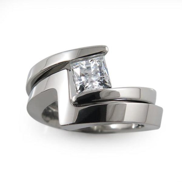 Etoile Princess Cut Diamond Titanium Ring (±0.75ct)