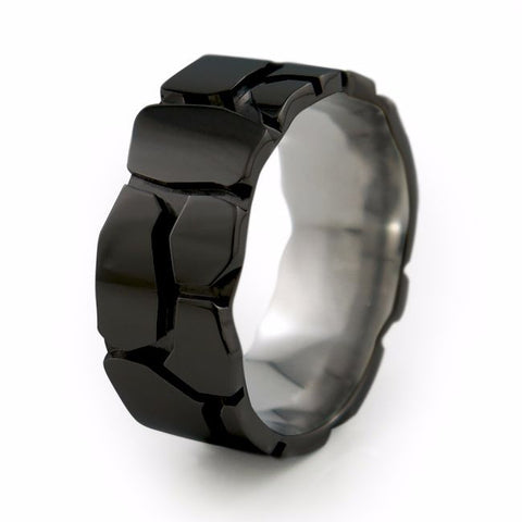 Rocky Road | Black Titanium Ring