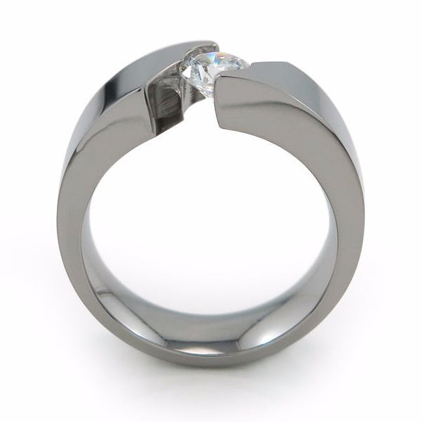 Beautiful titanium engagement ring is a bold ring that lifts up your chosen Diamond or gemstone to accentuate it's glimmer.