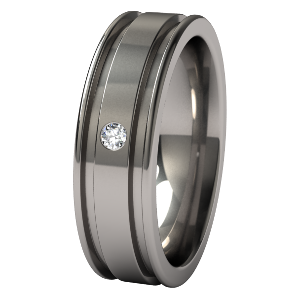 Abyss Inset Single-none-Titanium Rings