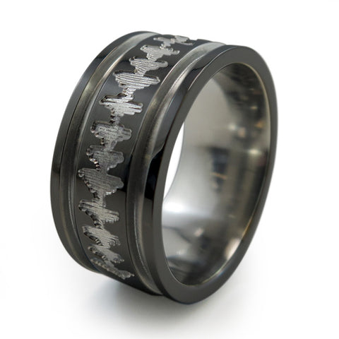 Heartbeat | Soundwave | Mens Black Abyss Titanium Ring
