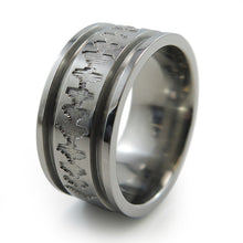 Titanium Ring with sound wave engraving of babys heartbeat from Ultrasound, or any sound wave that can be captured.