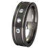 Abyss black 2 Tone with Three 2mm Inset Gems-none-Titanium Rings
