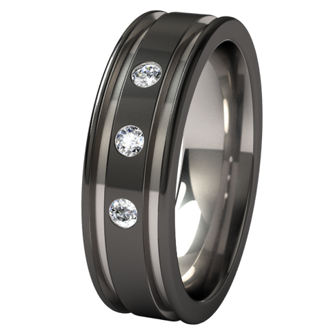 Abyss black 2 Tone with Three 2mm Inset Gems
