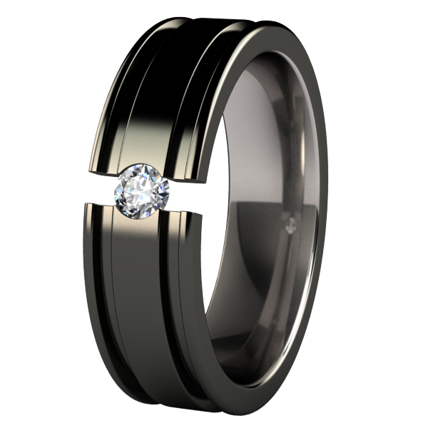Abyss Black Tension Setting-none-Titanium Rings