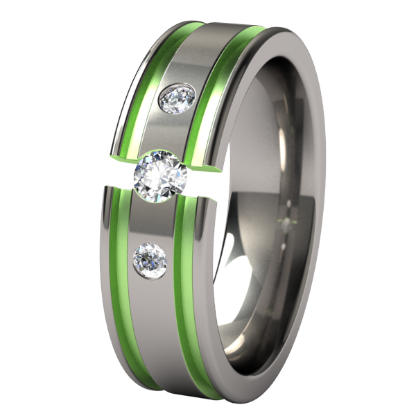 Abyss Past-Present-Future Tension Set with Side Stones - Colored-none-Titanium Rings