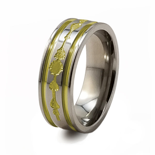 Soundwave Abyss anodized gold Titanium Ring-Ring - Template 21-Titanium Rings