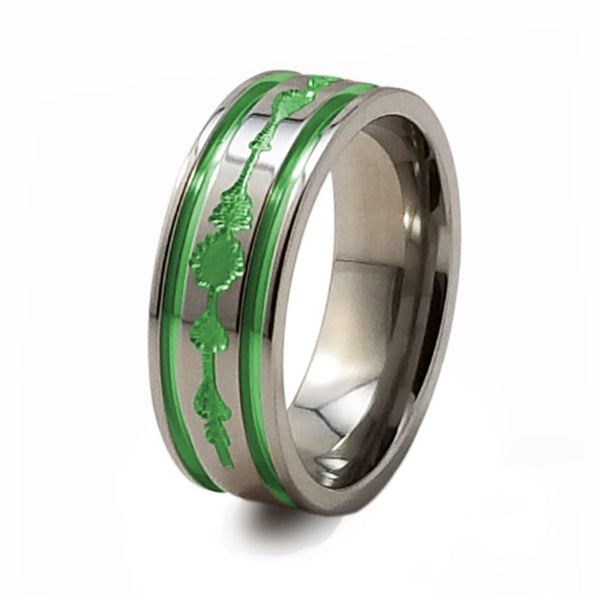spoundwave spring green mens womens titanium ring