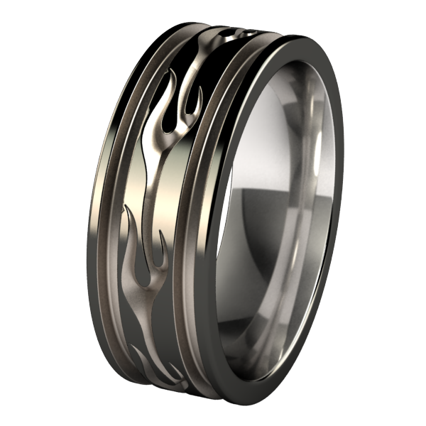 Voodoo Abyss - Black Two Toned-none-Titanium Rings