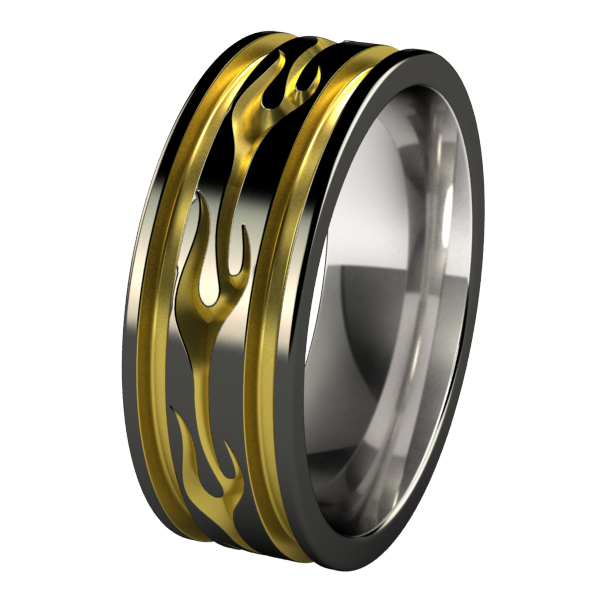Voodoo Abyss Black and Colored-none-Titanium Rings