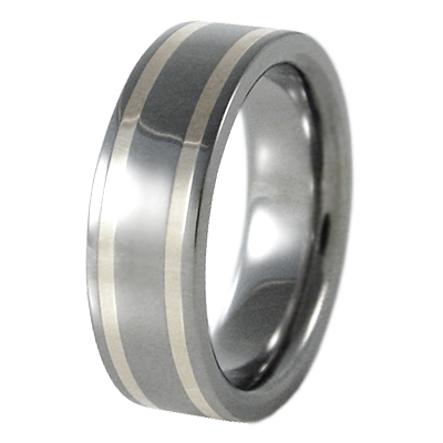 Abyss Double Silver Inlay-none-Titanium Rings