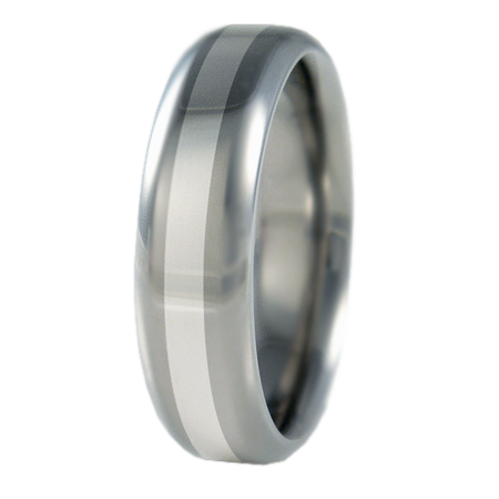Contour 14k White gold inlay-none-Titanium Rings