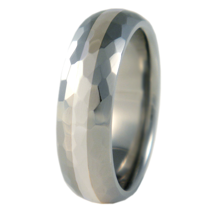 Crater Silver Inlay-none-Titanium Rings