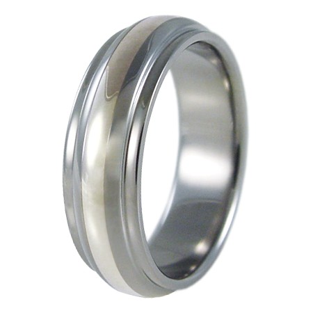 Partial Eclipse Silver inlay-none-Titanium Rings