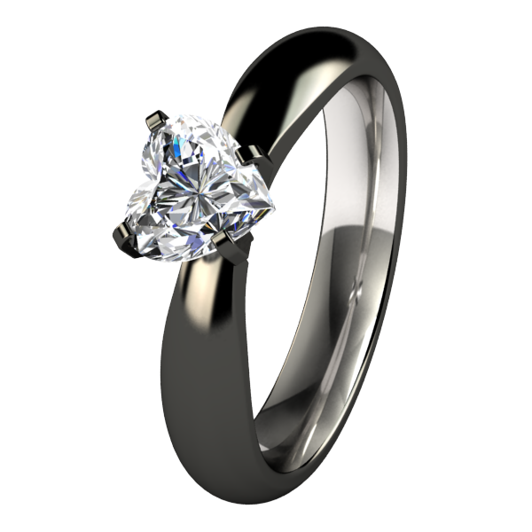 Aimee Heart Solitaire Gem - Black-none-Titanium Rings