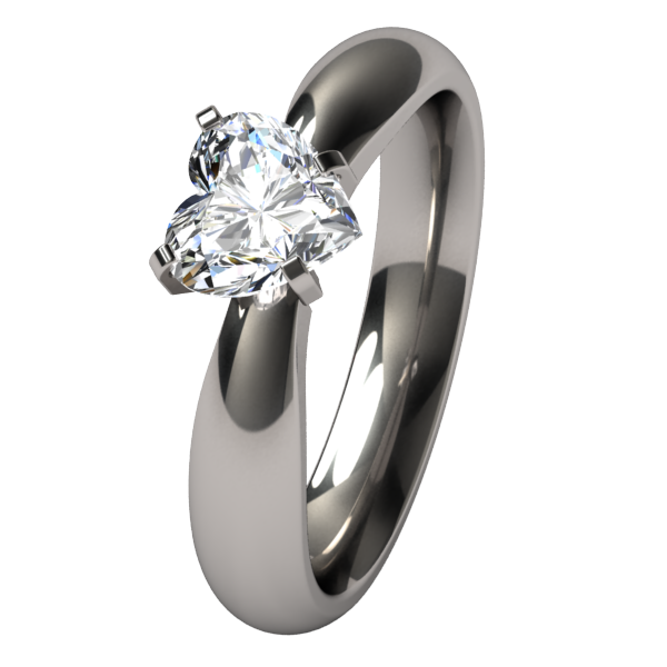 Aimee Heart Solitaire Gem-none-Titanium Rings