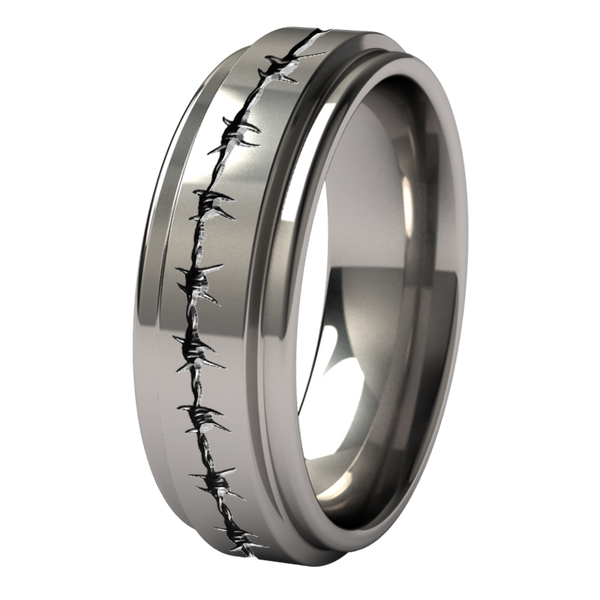 Aria with barb-wire carvings-none-Titanium Rings