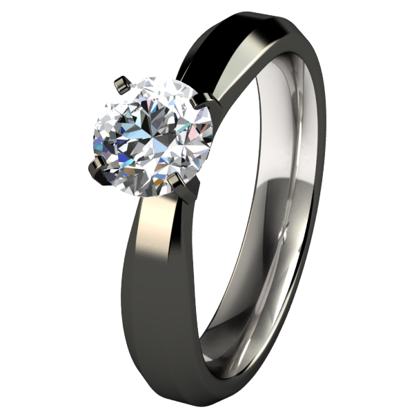 Artemis Diamond Black Solitaire-none-Titanium Rings