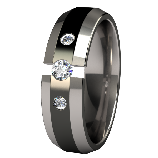 Ascent Tension Set with Side Stones - Black Two Toned-none-Titanium Rings