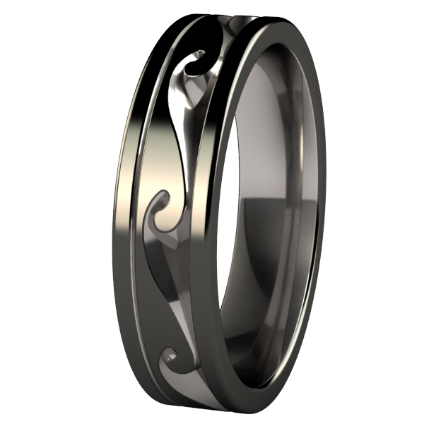 Atlantis - Black Two Toned-none-Titanium Rings
