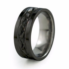 Symbolic of endless love; this fine woven Celtic pattern represents infinity. The Black Hypnos is crafted from a solid block of aircraft grade Titanium