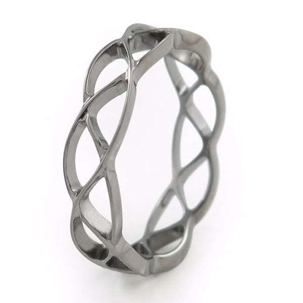 endless love; this fine lace Celtic pattern represents infinity.  Womens Ring, Mens Ring, Titanium Wedding Band, Titanium Wedding Ring
