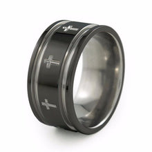 Crusader ring, mens two toned black titanium wedding band