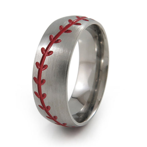 Baseball Titanium Ring Red Stitching
