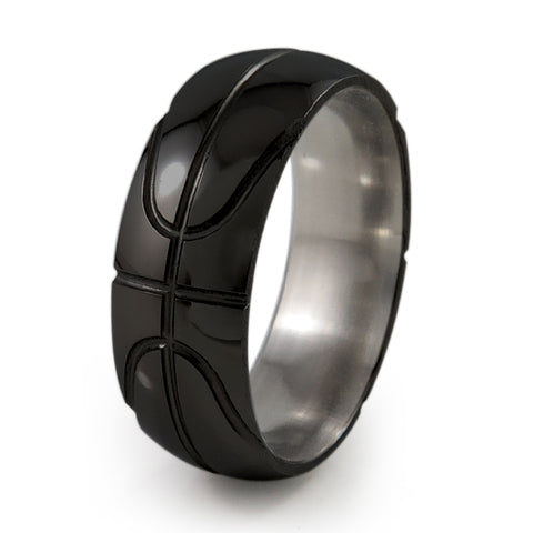 Black Basketball Titanium Ring