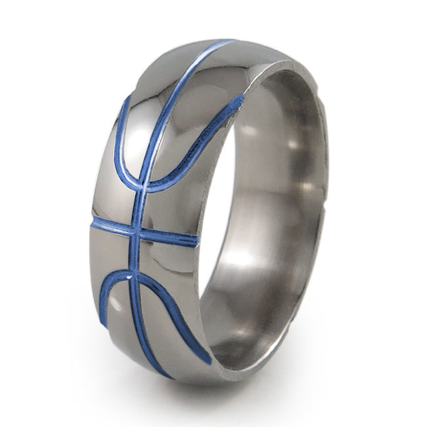 Basket ball inspired titanium ring with blue accent