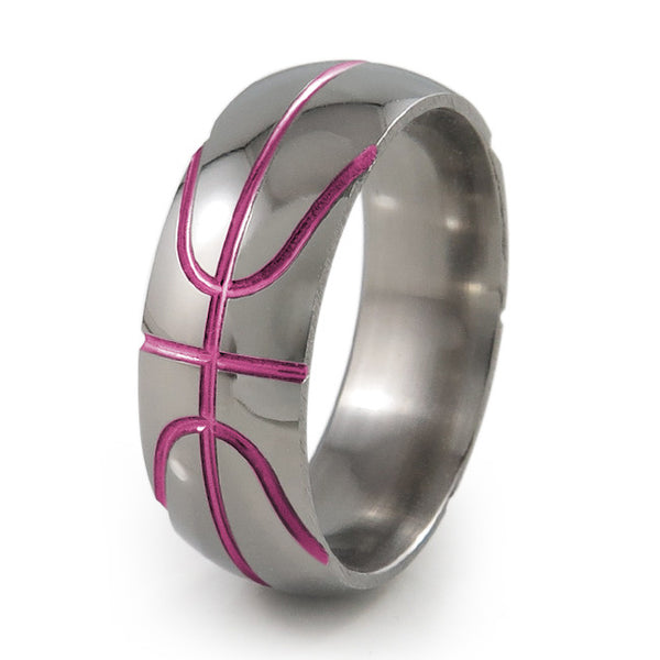 Basket ball inspired titanium ring with pink accent
