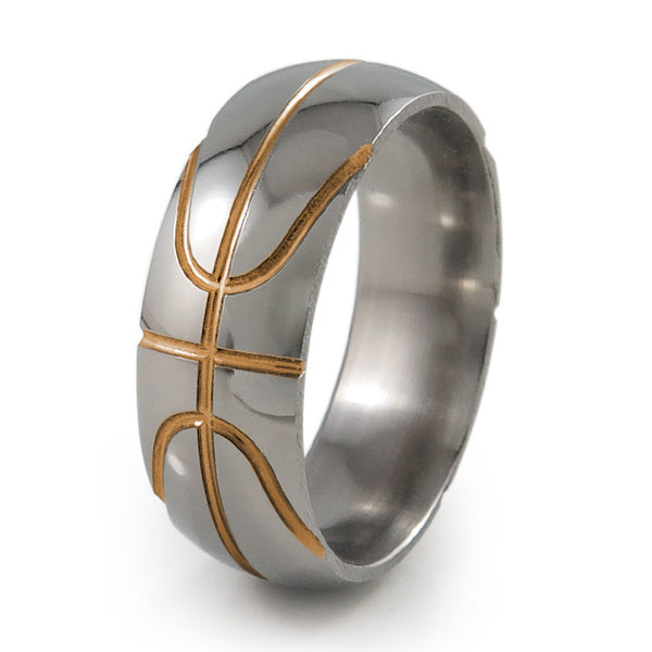 Basket ball inspired titanium ring with orange accent