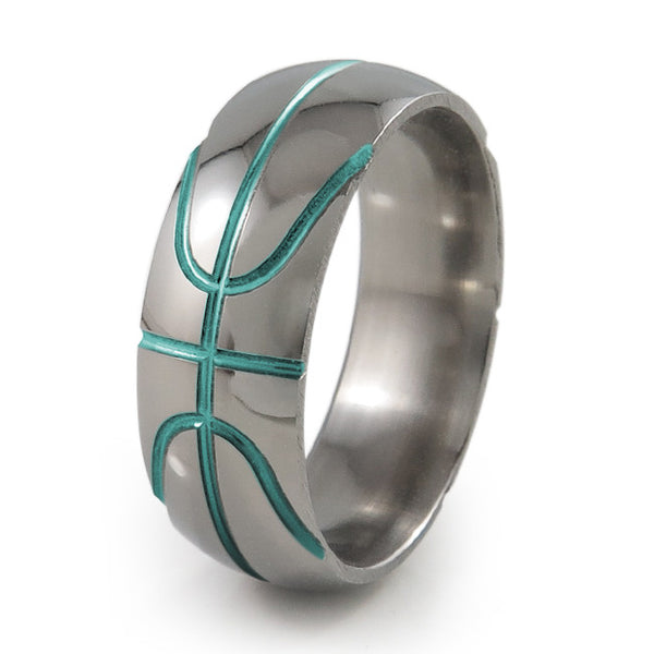 Basket ball inspired titanium ring with green accent