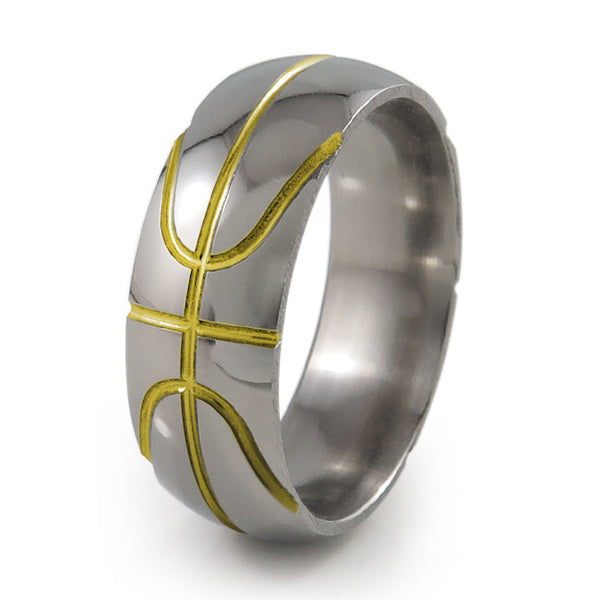 Basket ball inspired titanium ring with yellow accent