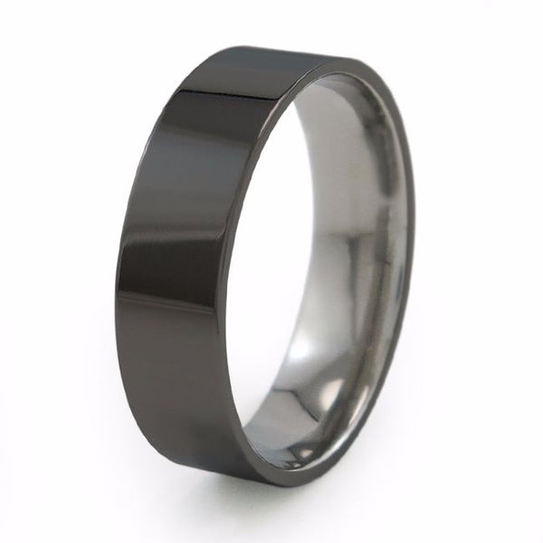 Black Titanium Ring. Mens Thin Black Titanium Wedding Band.