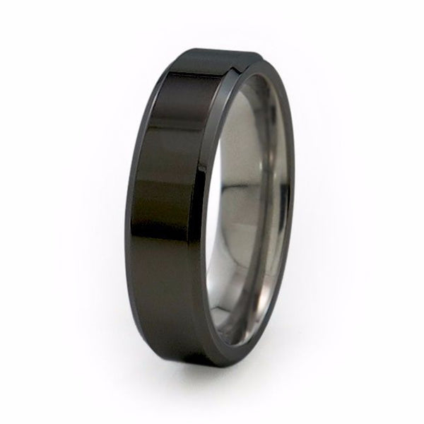 Mens black titanium wedding band with bevelled edges and a comfort fit.