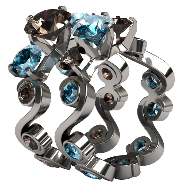 Cecilia Multi Stone Gem-none-Titanium Rings