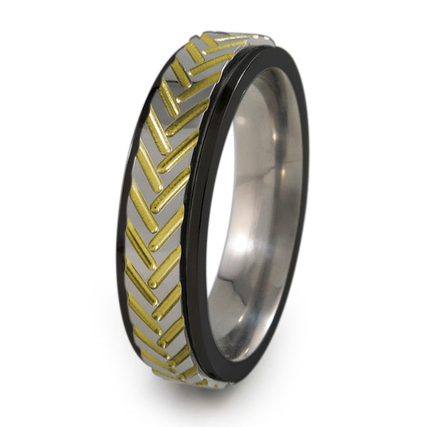 Chevrons black titanium fidget spinner ring