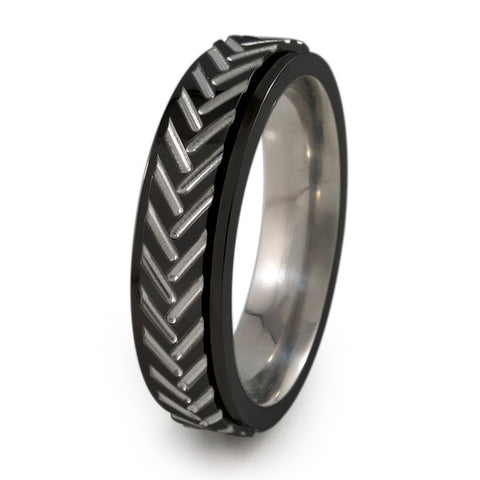 Chevrons Fidget Ring |  All Black + Colors