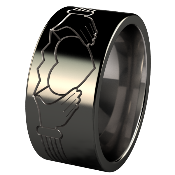 Claddagh - Black Two Toned-none-Titanium Rings